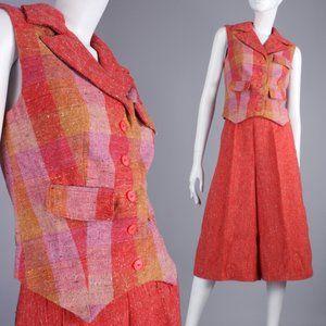 XS/S Vintage 60s Stripe Wide Leg Culotts Vest Set